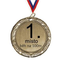 Zlatá medaile s potiskem a stužkou