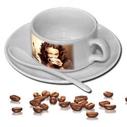 Kávový set s talířkem a lžičkou